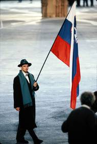 Franci Petek, ski jumping, the first national flag bearer Winter olympics - Albertville 1992. Photo: Aleš Fevžer