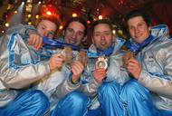 Kranjec, Peterka, Fras, Žonta – ski jumping team bronze medal - Salt Lake city 2002. Photo: Aleš Fevžer