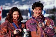 Alenka Dovžan and Katja Koren, bronze medallists in Alpine skiing 1994 Lillehammer. Photo: Aleš Fevžer